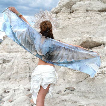 NIGHTINGALE • Blue Silk Bird Wing Scarf • Handmade Chic Sky Blue and White Costume Wings • Handmade Gift For Her • Digital Printed Silk Art