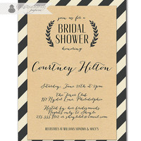 Kraft Bridal Shower Whimsical Script Black & Off White Striped Modern Bridal Wedding Shower Invitation Printable or Printed - Courtney Style