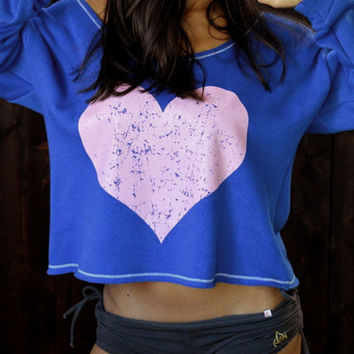 Royal Blue Heart Print Long Sleeve Crop T-shirt