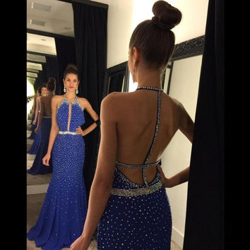 Sexy High Halter Mermaid Prom Dress Backless Beads Off The Shoulder Chiffon Floor Length 2017 Royal Blue Vestidos De Formatura