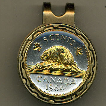 Gorgeous 2-Toned  Gold on Silver Canadian  Beaver - Coin - Golf Ball Marker - Hat Clips