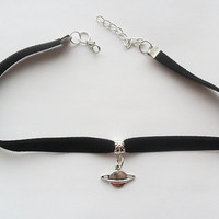 "Velvet choker with Saturn pendant and a width of 3/8"" BLACK Ribbon Choker Necklace"