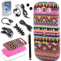 Pandamimi ULAK 3in1 Hybrid High Impact Pink Hard Aztec Tribal Pattern + Pink Silicone Case Cover For Samsung Galaxy S3 SIII i9300 +Screen Protector/Stylus/Car Charger/USB Cable/Earphone splitter cable (1 in 2 out), Fishbone Shape Earphone Cord Winder (AT&T