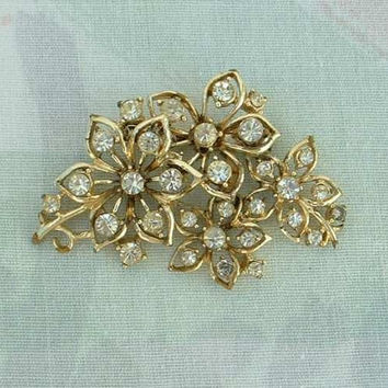 CORO 4 Flower Rhinestone Pin Brooch Vintage Jewelry
