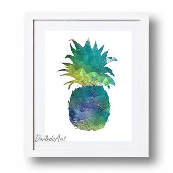 Pineapple print Pineapple printable Blue Pineapple wall art Navy and green Pineapple Decor Blue, yellow Pineapple 16x20 8x10 5x7 DOWNLOAD
