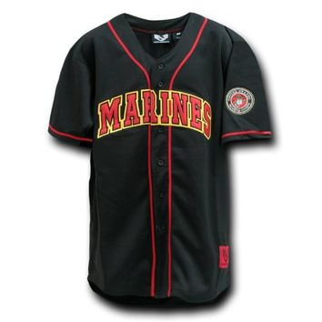 Rapid Dominance Fully Button Down Military US MARINES Logo Baseball Jersey