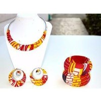 Red, Yellow And White African Jewelry Gift Set Bangle, Earrings Necklace