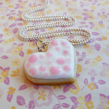 Polymer Clay Valentine's Day Pink Polka Dot Sugar Cookie Heart Necklace, Food Jewelry