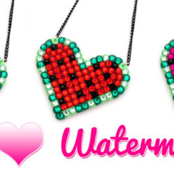 Watermelon Love Heart Necklace - Sparkly Red (Hot Pink Baby Pink Golden Yellow) & Green Melon Pendant - Kawaii Fruit Lovers Vegan Jewellery