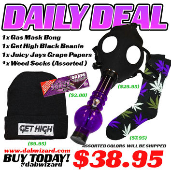 DAILY DEAL 1/23/15: 1x Gas Mask Bong + 1x Weed Socks (Assorted) + 1x Juicy Jays Papers Grape + 1x Get High Black Beanie+