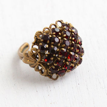 Vintage Art Deco Bohemian Garnet Red Rhinestone Ring - 1940s Brass Adjustable Filigree Cluster Statement Costume Jewelry