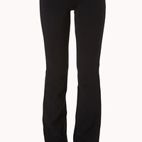FOREVER 21 Fit & Flare Fold-Over Yoga Pants Black/White X-Small