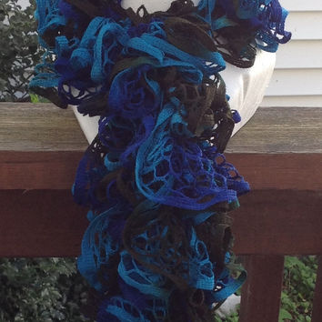 Royal Blue Brown And Turquoise Crocheted Ruffle Sashay Fashion Scarf