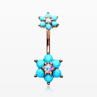 Rose Gold Turquoise Flower Sparkle Prong Set Belly Button Ring