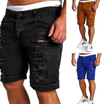 Fashion Mens Ripped Jeans shorts Pleated Distressed slim fit Jeans Skinny Ripped Denim Shorts Pants