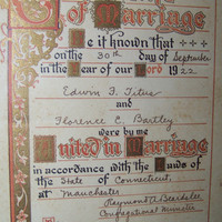 Vintage 1922 Framed Certificate of Marriage...Shabby Wedding Decor...Romantic...Nostalgia...Wedding Vows...Marriage License...Cottage Chic