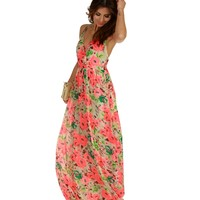 Sale- Ivory Tropical Floral Print Maxi Dress