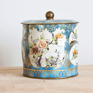 Vintage Daher Printed Tin Biscuit Jar, Tin Box Co. Cottage Chic Tea Tin Made in England, Flower Print Blue Container,