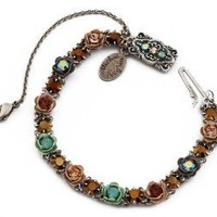 Michal Negrin Silver Coated Bracelet with Hand Painted Roses; Vintage Elements,Brown and Blue Swarovski Crystals; Very Feminine: Jewelry: Amazon.com