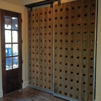 Wine Rack Riddling Doors - Antique Reclaimed Lumber with Steel - Custom Crafted (Pair)