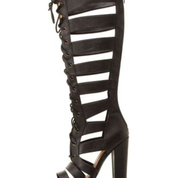 Black Qupid Lace-Up Gladiator Heels by Charlotte Russe