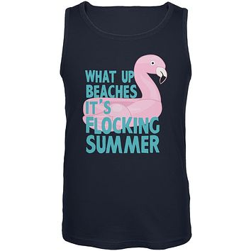 Flamingo What Up Beaches It's Flocking Summer Funny Pun Mens Tank Top