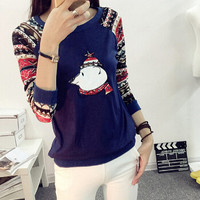 New 2015 T Shirt Women Long Sleeve Tees Fashion Brand Sexy Print T-Shirts Embroidery Knitted Slim Novelty Tops Plus Size S-XXL