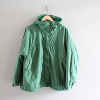 Eddie Bauer Parka Green Zip Up Rain Jacket Green Windbreaker Outdoor Mountain Jacket 90s Vintage Unisex Minimalist Size M - L