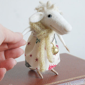Christmas sheep, needle felted sheep, felt ornament, needle sculpture, soft figurine,  Christmas dress, tender mouse