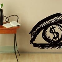 Wall Vinyl Decal Sticker Eye Vision and Dollar Sign Art Design Room Nice Picture Mural Decor Hall Wall Chu1370