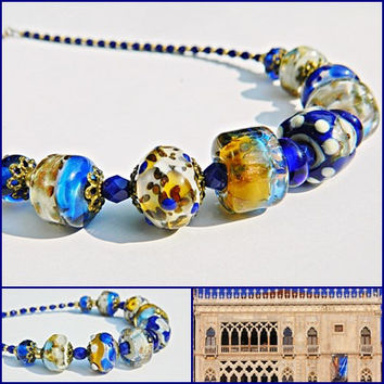 Ca'd'Oro lampwork necklace Blue Beige Gold Elegant Classic Glass beads necklace Statement Glass jewelry Gift for Her OOAK Handmade necklace