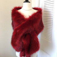Red Faux Fur Wrap Shawl Coat Shrug Stole Cape, Wedding Bridal Faux Fur Wrap Shawl Coat Shrug Stole Cape