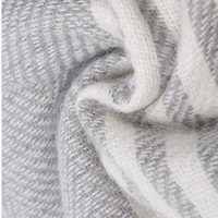 Gray and White Soft Long Striped Scarf