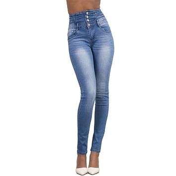 Boyfriend Denim Jeans For Women High Waist Skinny Push up Pencil Pants Elastic Jeans Mid Fashion Casual Girls Vaqueros Mujer