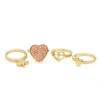 Hearts & Stars Stackable Ring Set
