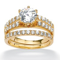 2.58 TCW Round Cubic Zirconia 18k Gold over Sterling Silver Triple-Row Wedding Ring Set