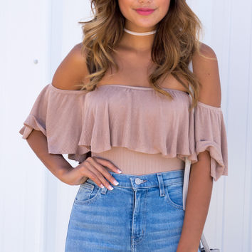 Balmy Breeze Ruffle Off The Shoulder Bodysuit - Mocha