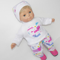 Clothes 3 pc heart flannel pants sweatshirt hat dog Handmade For Bitty Baby doll