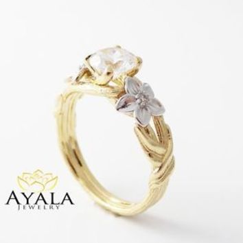 Twig Design-14K Yellow Gold Diamond Enagement Ring-Twig Engagement Ring