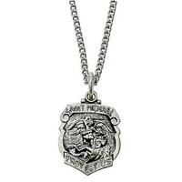 "5/8"" Sterling Silver Police and St. Michael Shield Medal Necklace on 18"" Chain"