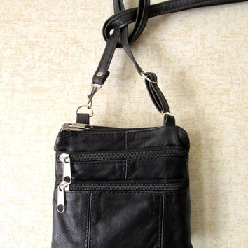 Crossbody Wallet Bag long strap mini purse organizer passport black leather belt bag vintage 90s women unisex