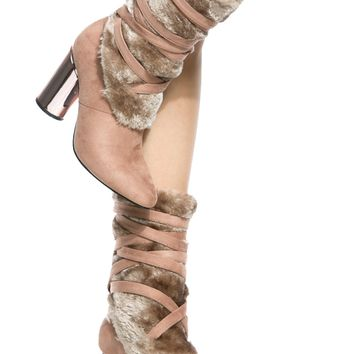 Dust Rose Faux Suede Faux Fur Chunky Booties @ Cicihot Boots Catalog:women's winter boots,leather thigh high boots,black platform knee high boots,over the knee boots,Go Go boots,cowgirl boots,gladiator boots,womens dress boots,skirt boots.