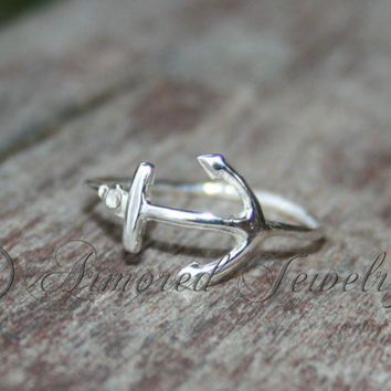 Anchor ring in Sterling silver - Navy - USN - Military - Seabee - Nautical