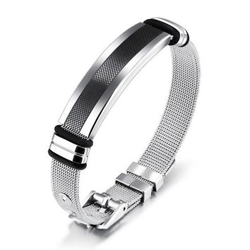 Valorous Stainless Steel Refined Mesh Strap Band Bracelet for Men's by Ritzy
