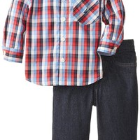 Nautica Baby Boys' 2 Piece Plaid Shirt and Denim Set, Navy, 18 Months