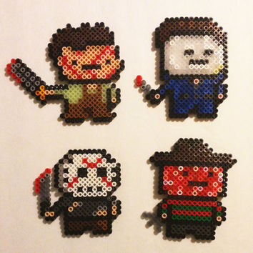 1990s Scary Movie Perler Ornaments/Magnets- Jason- Michael Myers- Leather Face- Freddy Kruger