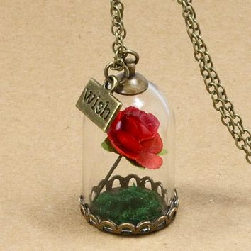Beauty and The Beast Retro Glass Vial Necklace Butterfly Wish Accessories Necklace Red Rose Dried Flower Jewelry for Women Girls