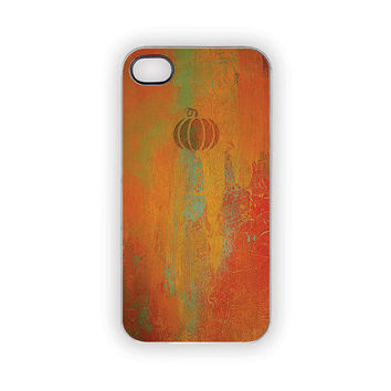 Pumpkin iPhone Case 5 4S 4 Orange Shabby Chic Gold Verdi Green Wood Grain Look Brushstrokes Woodland Vintage Feel Autumn Fall