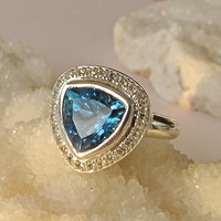 Sale Halo Blue Topaz Ring- Gemstone Rings- December Birthstone Rings- Stone Rings- Halo Engagement Ring- Promise Ring- Anniversary Ring