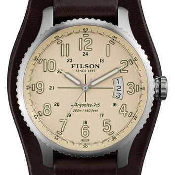 Men's Filson 'The Mackinaw Field' Leather Strap Watch, 43mm